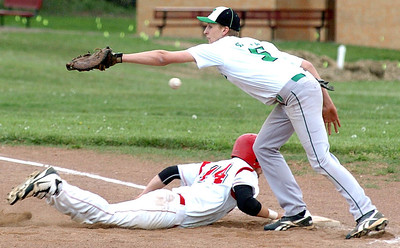 Firelands' #14 Joe San Felippo gets back to first safely as Columbia's #5 is unable to catch the overthrown ball.