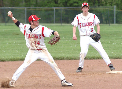 Firelands' #14 Joe San Felippo throws to first to get an out.