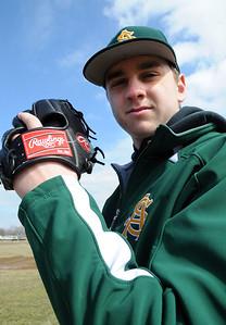 Amherst senior pitcher Grffin Weir gets ready for the season on Mar. 22.   Steve Manheim
