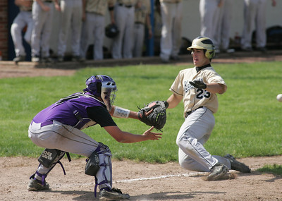 22MAY11  St Thomas Aquinas vs Keystone: SERIES of PICTURES:   a perfect throw to Keystone catcher Mike Cordy cuts down Aquinas' #23 Sean Dempsey who would have been the 4th Aquinas run in a 5-3 Keystone victory.   photo by Chuck Humel