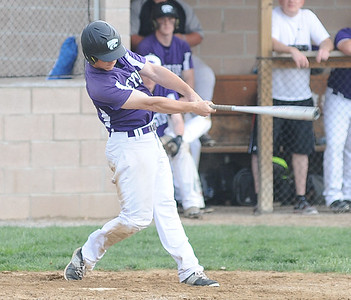 Keystone's Drew Compton hits a three-run triple in the fourth inning against Clearview on April 20.  STEVE MANHEIM / CHRONICLE