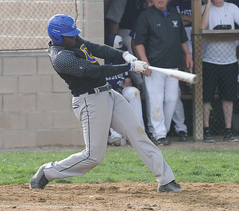 Clearview's Andrai Wright hits a three-run home run in the third inning against Keystone on April 20.  STEVE MANHEIM / CHRONICLE