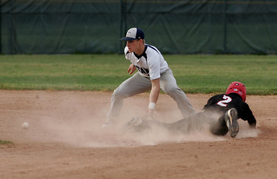 Mike Izzarellis steals second against Titan #10 Ryan Osko.      photo by Chuck Humel