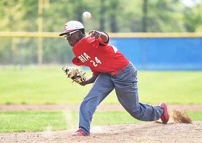 KRISTIN BAUER | CHRONICLE Elyria High School pitcher Jamaris Cook (24) pitches against Midview High School on Friday afternoon, May 12.