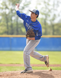 KRISTIN BAUER | CHRONICLE Midview High School pitcher Derek Dulemba (19) pitches against Elyria High School on Friday afternoon, May 12.