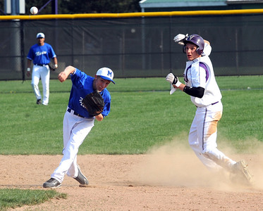 Midview Ben Simkovich makes the force out on Vermilion Anthony Labondano in third inning Apr. 15.  Steve Manheim