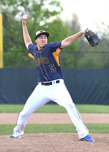 KRISTIN BAUER | CHRONICLE North Ridgeville High School pitcher Tyler Fasulo (5) pitches against North Olmsted High School on Wednesday evening, May 11.