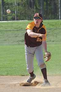 Avon Lake's Jason Gregovits throws to first base against North Ridgeville on April 26.  STEVE MANHEIM / CHRONICLE