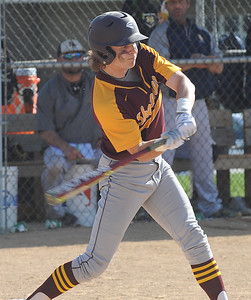 Avon Lake's Brian Pincura hits an RBI single against North Ridgeville on Wednesday afternoon.  STEVE MANHEIM / CHRONICLE