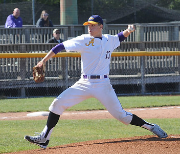 Logan Doenges pitches for Avon against Amherst on May 19. STEVE MANHEIM/CHRONICLE
