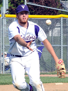 Vermilion pitcher Cameron Zima makes a put out to first base May 5.  Steve Manheim