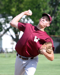 Wellington's Nick Carevic winds up to pitch against Oberlin in the bottom of the second inning in the sectional game yesterday at Wellington High School. The Dukes beat Oberlin in extra innings 5-4. (CT photo by Anna Norris.)