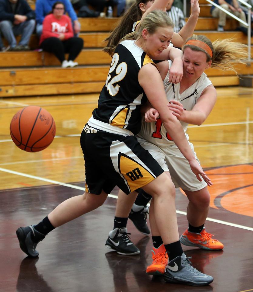 Buckeye's Alexa Eisenbrown battles Black River's Jenna-Star Shranko fora rebound during the second quarter. AARON JOSEFCZYK/GAZETTE