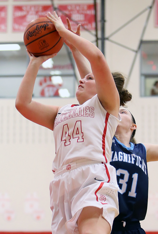 Wadsworth's Peyton Banks shoots against Magnificat's Lily Schwind during the second quarter. (RON SCHWANE / GAZETTE)