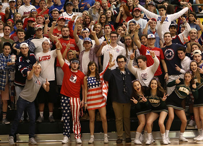 Medina Swarm dresses patriotically for Military Apprciation Night. AARON JOSEFCZYK / GAZETTE