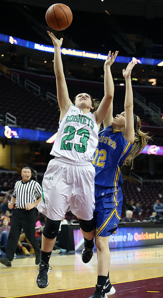 Highland's Samantha Catron goes up for a shot against Wooster's Syndey Clapp during the third quarter at Quicken Loans Arena. (RON SCHWANE / GAZETTE)