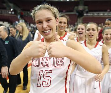 Wadsworth's Jodi Johnson celebrates after the Lady Grizzlies beat Mason 60-51 to win the Division 1 state championship. (RON SCHWANE / GAZETTE)