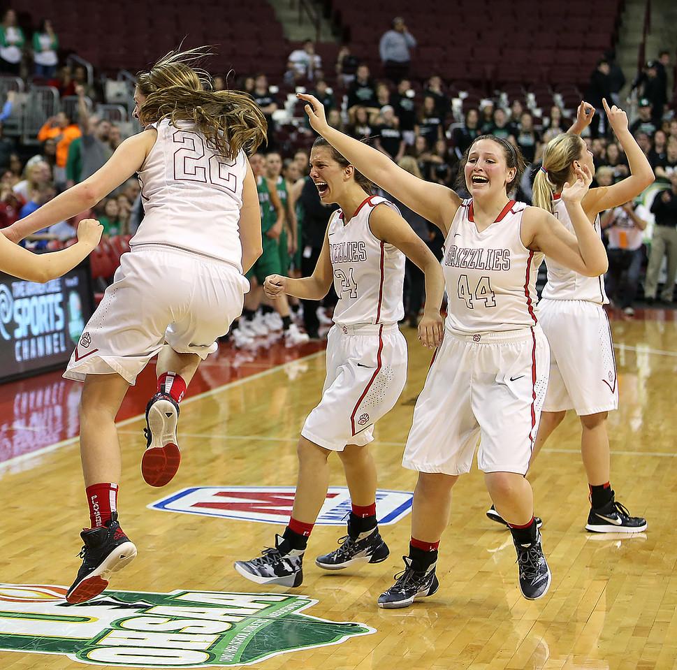 Wadsworth's Jenna Johnson, left, Peyton Banks, center and Jodi Johnson celebrate after beating Mason 60-51 to win the Division 1 state championship. (RON SCHWANE / GAZETTE)