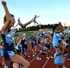 The North Penn Cheerleaders root on the Knights during their contest against Archbishop Wood at North Penn High School.  Friday September 6,2013. Photo by Mark C Psoras/The Reporter