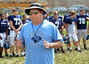 Coach Dick Beck speaks to North Penn High School players at close of morning practice.   Monday, August 11, 2014.   Photo by Geoff Patton