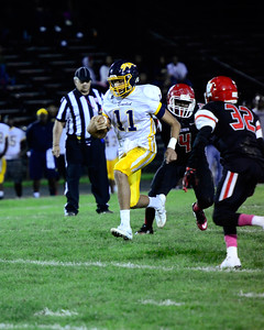 Euclid QB Noah Mitchell gains yards during Friday night's game. JESSE GRABOWSKI / CHRONICLE