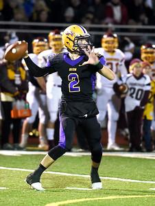 KRISTIN BAUER | CHRONICLE Avon High School senior quarterback Matt Kelly (2) makes a pass during a game against Avon Lake High School on Friday night, Nov. 4.