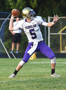 KRISTIN BAUER | CHRONICLE Vermilion High School sophomore quarterback Seth Hurd (5) passes the ball during a game against Clearview High School on Friday night, Aug. 26.