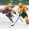 KRISTIN BAUER / CHRONICLE<br /> Avon Lake High School's Tim Lubertuzzi (13) and Lakewood High School's Mac Macfarlin (19) battle for control of the puck on Saturday afternoon, February 10.