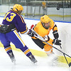 KRISTIN BAUER / CHRONICLE<br /> Avon Lake High School's Isaac Young (33) and Lakewood High School's Ben Manner (13) battle for control of a puck that went airborne on Saturday afternoon, February 10.