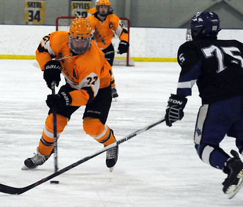 Avon Lake's Patrick Graney moves the puck past CVCA's Hayden Dickerson on Feb. 6.  STEVE MANHEIM / CHRONICLE