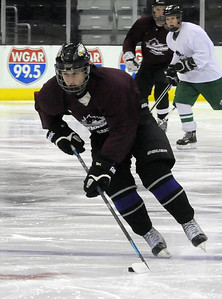 Eric Novakovic of Avon moves down ice in the  GCHSHL All-Star game at Quicken Loans Arena on Mar. 7.   Steve Manheim