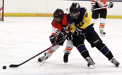ANNA NORRIS/CHRONICLE Avon's Joe Goetz reaches for possession against North Olmsted's Jon Novak in the second period Sunday afternoon at the North Olmsted Recreation Complex.