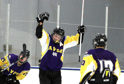 ANNA NORRIS/CHRONICLE Avon's Alex Guzik (44) celebrates after scoring a goal against North Olmsted in the second period Sunday afternoon at the North Olmsted Recreation Complex.