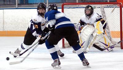 Avon's #10 Braeden Friss blocks Midview's #5 Jacob Hack's shot. Avon's goalie, #29 Joe Sefchick, guards the goal.