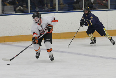 North Olmsted's Travis Vitaz (20) moves the puck past Olmsted Falls' Patrick Kerr (2) during the semi finals for the Southwestern Conference on Sunday, Jan. 17, 2016 at the North Olmsted Recreation Center. BRIAN J. SMITH/CHRONICLE