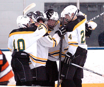Amherst celebrates their third goal.