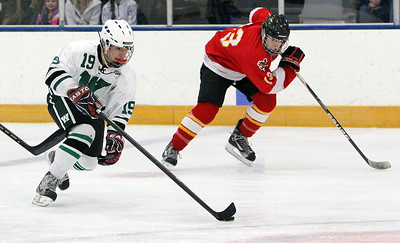 Westlake's Max Prexta moves the puck down the ice on a breakaway against Brecksville. ANNA NORRIS/CHRONICLE