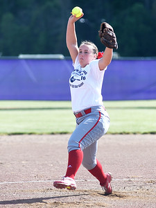 KRISTIN BAUER | CHRONICLE   Elyria High School's Elizabeth Ellis pitches during the Lorain County All Star softball game on Tuesday evening June, 7.
