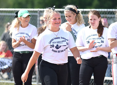 KRISTIN BAUER | CHRONICLE   Keystone High School's catcher Destiny Weber smiles as she is announced as the player of the year on Tuesday evening, June 7 during the Lorain County All Star softball game.