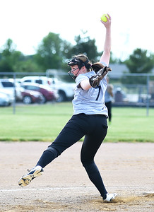 KRISTIN BAUER | CHRONICLE   Vermilion High School Savanna Hitlan (7) pitches during the Lorain County All Star softball game on Tuesday evening, June 7.
