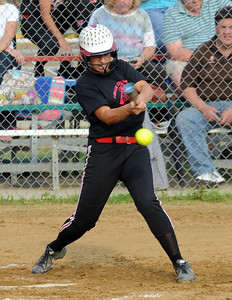Nicole Strauss of Firelands hits an RBI single in the third inning. STEVE MANHEIM/CHRONICLE