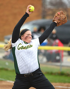 KRISTIN BAUER | CHRONICLE Amherst Steel High School's Madison O'Berg (27) pitches during a game against Midview High School on Tuesday aftenoon, April 4.