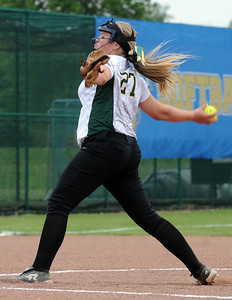 Madison O'Berg pitches for Amherst in a regional semifinal game at Clyde on May 25. STEVE MANHEIM/CHRONICLE