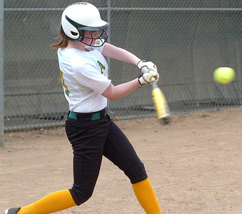 Amherst's #14 Kelsea McGraw gets a hit.