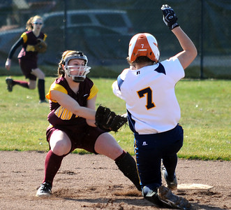 North Ridgeville Kailey Demareo steals second base past Avon Lake Allison Theberge  in first inning Mar. 31.   Steve Manheim