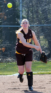 Avon Lake Kaity Mullen makes a put out to first base vs North Ridgeville Mar. 31.  Steve Manheim