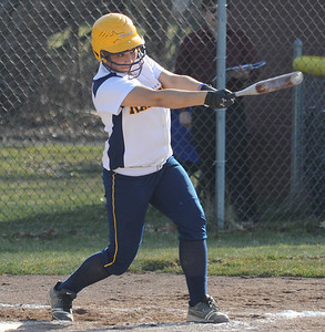 North Ridgeville Haley Gall hits a sacrifice fly to score a run which in fourth inning. North Ridgeville committed an outfield error on the play.   Steve Manheim