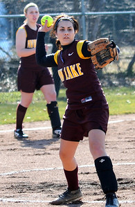 Avon Lake pitcher Caitlin Shelar makes a put out to first base Mar. 31.  Steve Manheim