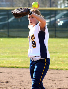 North Ridgeville Kaleigh Asp makes a put out to first base Mar. 31.   Steve Manheim