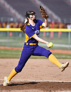KRISTIN BAUER | CHRONICLE Avon High School pitcher Tina Clark (10) pitches against Avon Lake High School on Wednesday evening, March 29.